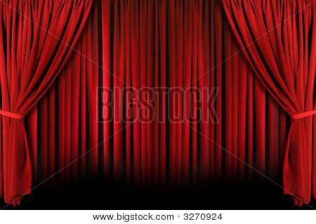 Red Theater Drapes With Dramatic Light And Shadows