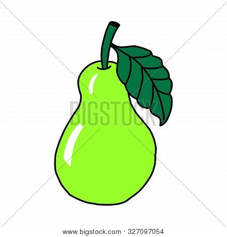 Vector Hand Draw Pear Illustration. Green Pear With Juice Splashes Isolated On White Background. Tex