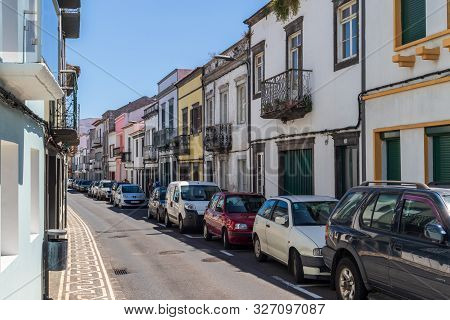Ponta Delgada, Azores, Portugal - August 14, 2019: Street In The Azorean Capital City With Colorful