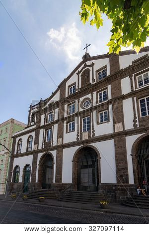 Ponta Delgada, Azores, Portugal - August 14, 2019: View Of The Church
