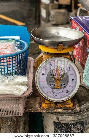 Chon Buri, Thailand - March 16, 2019: Closeup Of Large Table-top Retailer Scale On Street Market Sur