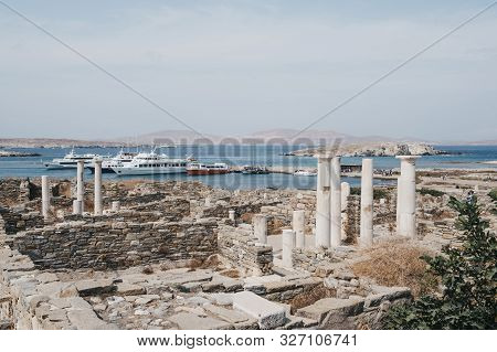 Delos, Greece - September 20, 2019: Ruins On The Island Of Delos, Archaeological Site Near Mykonos I