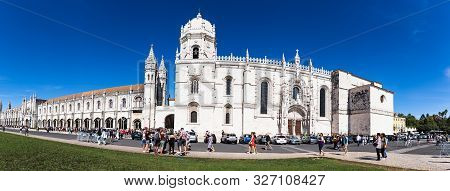 October 6th, 2019, Lisbon, Portugal - The Jeronimos Monastery Or Hieronymites Monastery, Is A Former