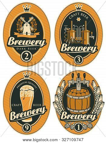 Vector Set Of Beer Labels In Oval Frames With Barrel, Beer Glass, Mill, Laurel Wreath, Ears Of Wheat
