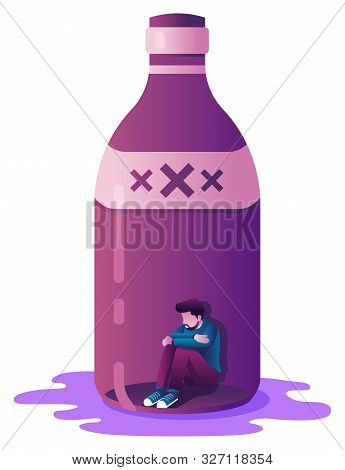 Conceptual Flat Deisgn Illustration With Male Character Locket In A Liquor Bottle As A Metaphor For