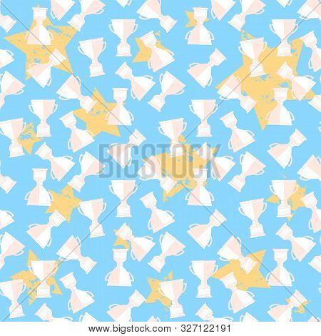Vector Seamless Pattern With Champion Cup On A Sty