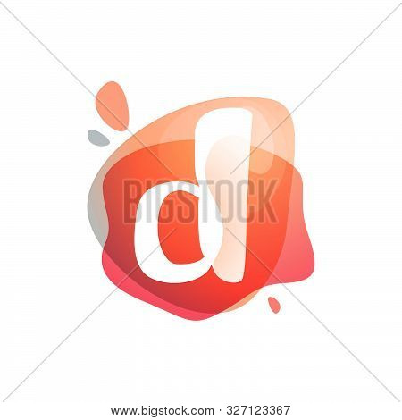 D Letter Logo At Colorful Watercolor Splash Background. Color Overlay Style. Vector Typeface For Lab