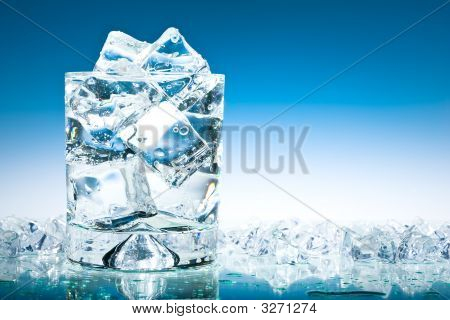 Cool Blue Iced Glass Of Water