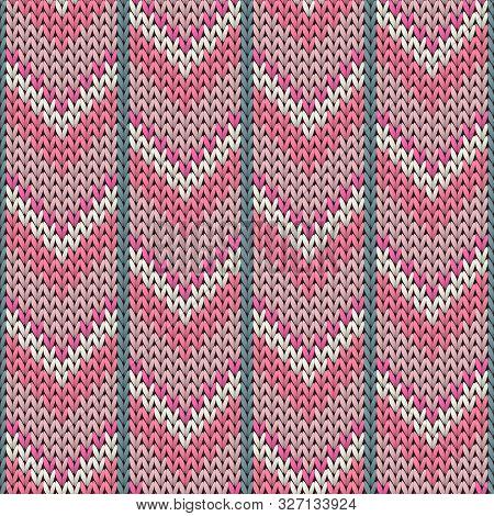 Stylish Downward Arrow Lines Knitting Texture Geometric Seamless Pattern. Rug Knitwear Structure Imi