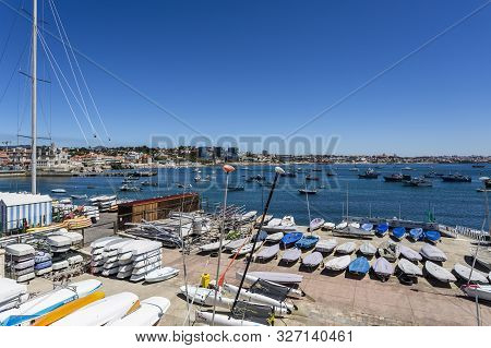Cascais - August 14, 2019: Many Sailing Boats In The Yacht Club Dry Land Storage Area, In Cascais Ba
