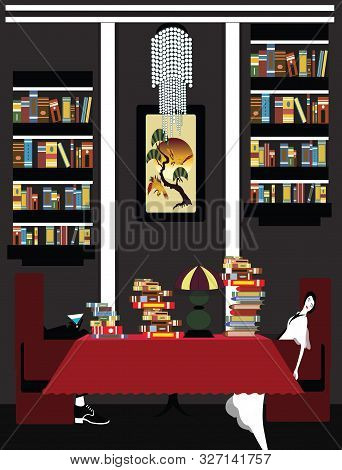 Illustration Of A Couple Exhausted Of Reading And Taking A Nap In The Library