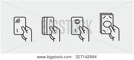 Set Of Payment Options Vector Elements In Flat Style. Credit Card Processing, Hand Holding Debit-cre