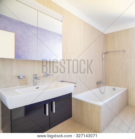 Bathroom detail with cabinet with sink and mirror and shower. Nobody inside