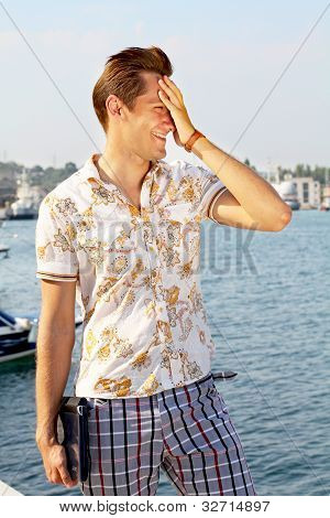 Portrait Of A Successful Young Business Man Smiling - Copyspace Summer Time, Sunny Day