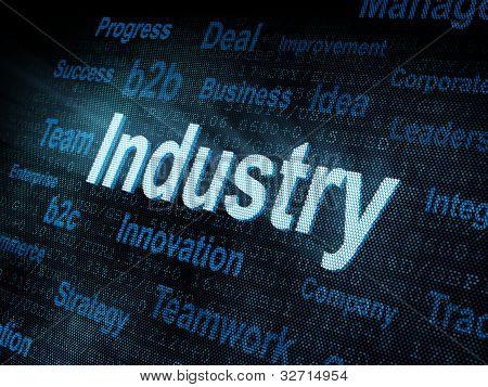 Pixeled Word Industry On Digital Screen