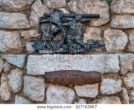 Orsago, Italy - 18 October 2018: A Memorial Sign Dedicated To The Italian Gunner Giovanni Bortolotto