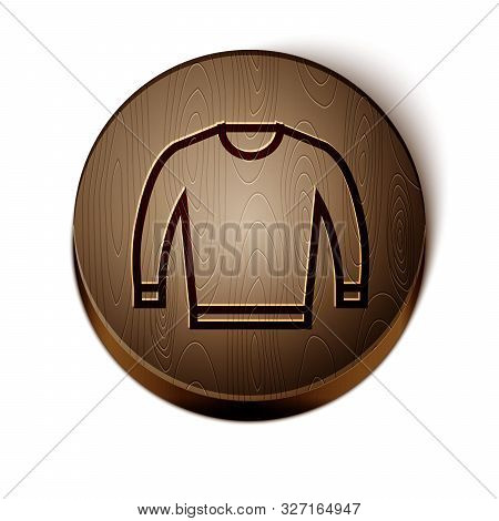 Brown Line Sweater Icon Isolated On White Background. Pullover Icon. Wooden Circle Button. Vector Il