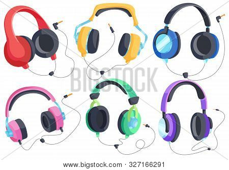 Headphones For Listening To Music, Headphone Vector Set, Over-ear Headphones, Multi-colored Headphon