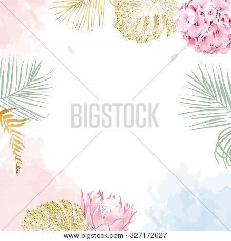 Trendy Simple Flat Lay Design Vector Square Background. Pink Hydrangea, King Protea, Palm Leaves, Go