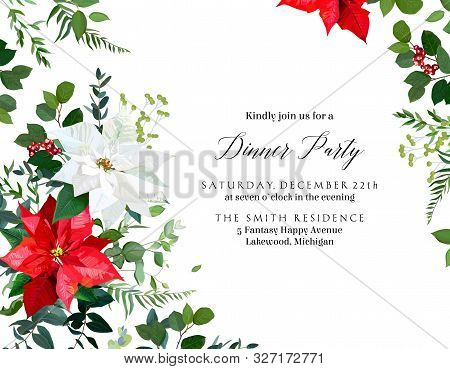 Red Poinsettia Flowers, Christmas Greenery, Emerald Eucalyptus, Seasonal Plants Vector Design Frame.
