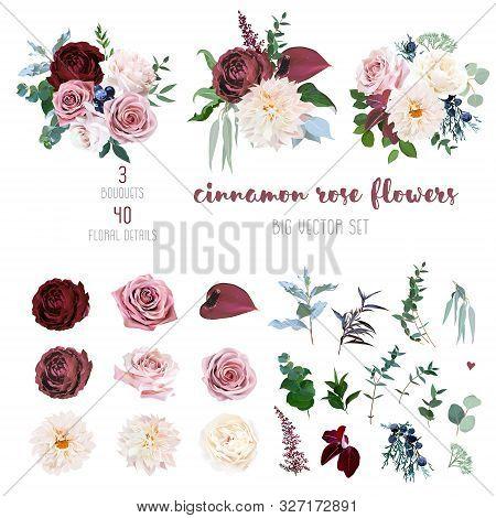 Desert Cinnamon, Brown, Dusty Pink And Creamy Roses, Dahlia, Burgundy Anthurium Flowers, Juniper, Eu