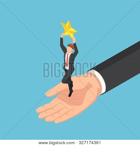 Flat 3d Isometric Giant Hand Helping Businessman To Catch The Star. Business Team And Success Concep
