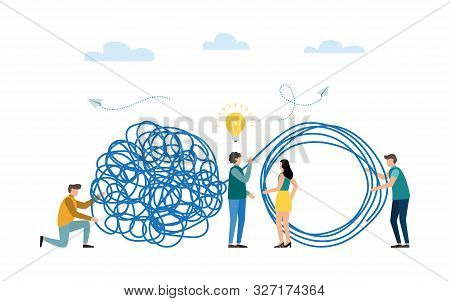 poster of Business problem solving concept. Tangle tangled and unraveled. abstract metaphor. Teamwork, coworking, partnership. Vector illustration