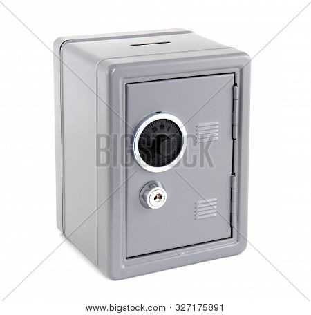 Silver Metal Safe Box Isolated On White Background. The Safe Has Both Key And Numeric Opening. It Is