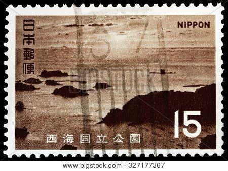 Luga, Russia - September 20, 2019: A Stamp Printed By Japan Shows Beautiful View Of Kujukushima (99