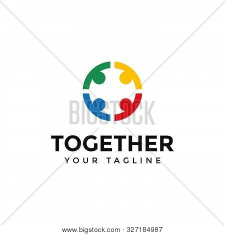 Circle People Together Unity Logo Design Template Illustration