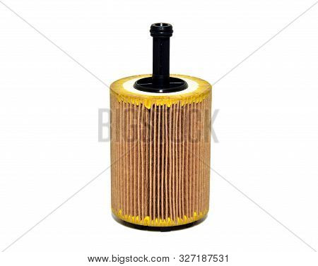 Car Oil Filter Cartridge On White Background