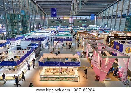 SHENZHEN, CHINA - CIRCA APRIL, 2019: interior shot of China International Gold, Jewellery & Gem Fair-Shenzhen space in Shenzhen Convention & Exhibition Center.