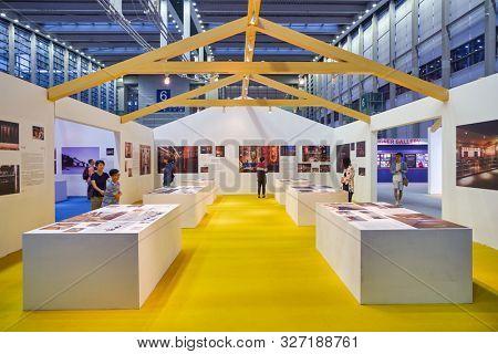 SHENZHEN, CHINA - CIRCA APRIL, 2019: Shenzhen Design Week space in Shenzhen Convention & Exhibition Center.