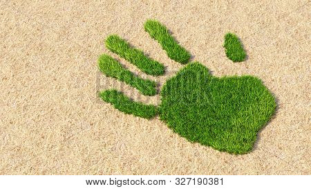 poster of Concept or conceptual green grass handprint on hay background. A metaphor for ecology, environment, recycle, nature conservation, spring summer or protection against global warming 3d illustration