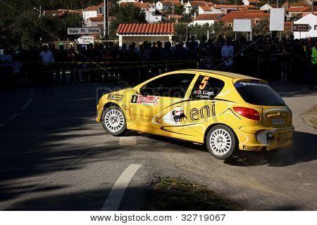 Castelo Branco, Portugal - March 10: Diogo Gago Drives A Peugeot 206 Gti During Rally Castelo Branco