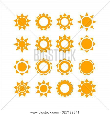 The Sun Collection Vector Logo Icon Is Yellow And Isolated On A White Background.