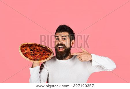 Man Eating Pizza. Bearded Man With Pizza. Food. Lunch. Happy Man Holding Pizza In Hands. Fastfood. S