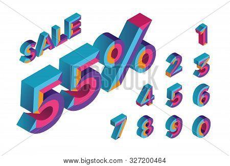 55% Sale. 0, 1, 2, 3, 4, 5, 6, 7, 8, 9 Isometric 3d Numeral Alphabet. Percent Off, Sale Background.