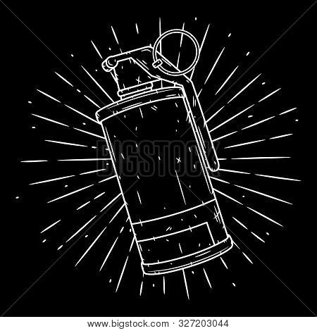 Smoke Grenade. Hand Drawn Vector Illustration With A Grenade And Divergent Rays. Used For Poster, Ba