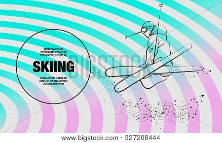 Skiing Freestyle Athlete In Fly Position With Cross Skis Figure. Vector Outline Of Skiing Freestyle