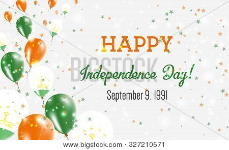 Tajikistan Independence Day Greeting Card. Flying Balloons In Tajikistan National Colors. Happy Inde