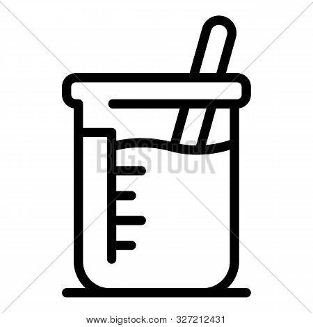 Chemical Beaker Icon. Outline Chemical Beaker Vector Icon For Web Design Isolated On White Backgroun