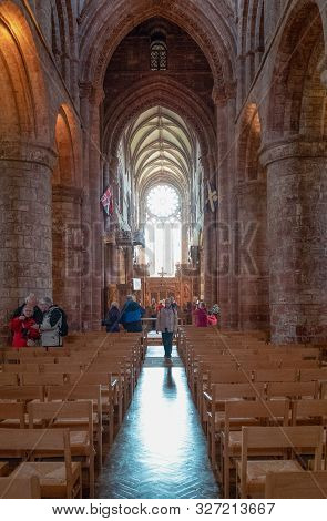 Kirkwall, Orkney, Scoland - June 4,  2019: The Nave Of The St.magnus Presbyterian Cathedral