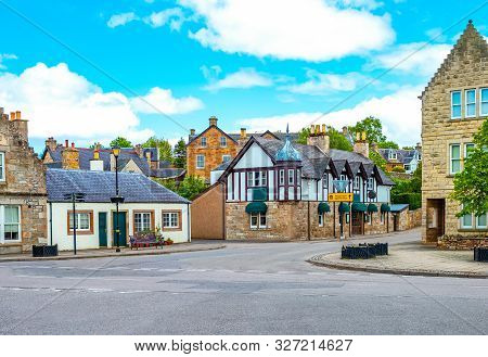 Kirkwall, Orkney, Scoland - June 4,  2019: The Traditional Houses Of The Country Center