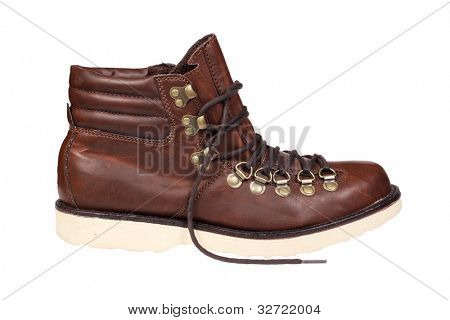 Hiking boot isolated over white with clipping path.