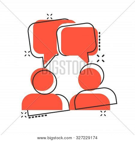 Vector Cartoon Talk People Icon In Comic Style. Man With Speech Bubble Concept Illustration Pictogra