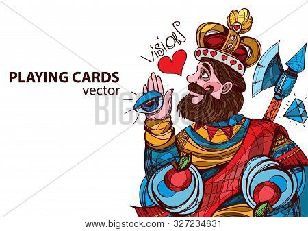 King Of Hearts Playing Card Suit. Vector Illustration