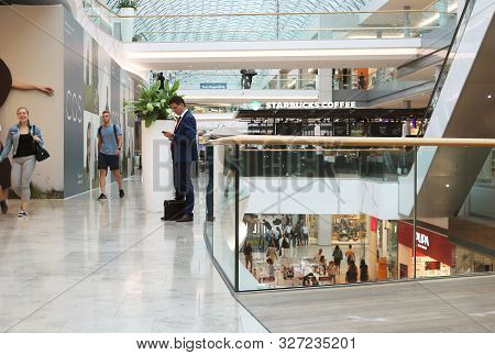 Bratislava, Slovakia - September 02, 2019: Unidentified People In Retail, Business And Residential C