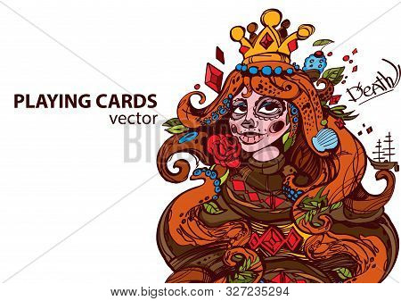 Queen Of Diamonds Playing Card Suit. Vector Illustration