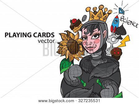 Queen Of Spades Playing Card Suit. Vector Illustration